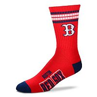 Men's For Bare Feet Boston Red Sox Deuce Striped Crew Socks