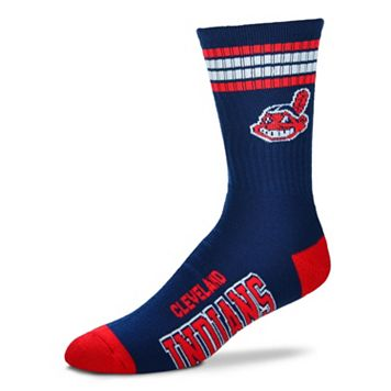 Men's For Bare Feet Cleveland Indians Deuce Striped Crew Socks