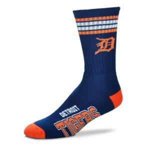 Men's For Bare Feet Detroit Tigers Deuce Striped Crew Socks