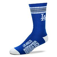 Men's For Bare Feet Los Angeles Dodgers Deuce Striped Crew Socks