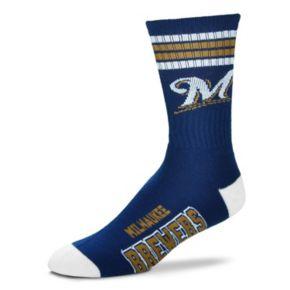 Men's For Bare Feet Milwaukee Brewers Deuce Striped Crew Socks
