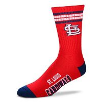 Men's For Bare Feet St. Louis Cardinals Deuce Striped Crew Socks