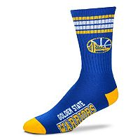 Men's For Bare Feet Golden State Warriors Deuce Striped Crew Socks