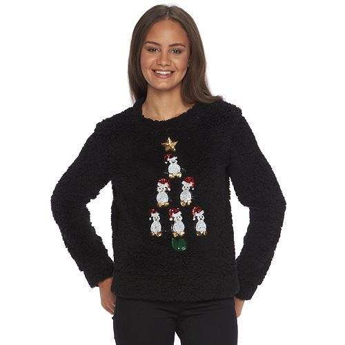 Juniors' Miss Chievous Sherpa Holiday Sweater