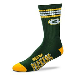 Men's For Bare Feet Green Bay Packers Deuce Striped Crew Socks