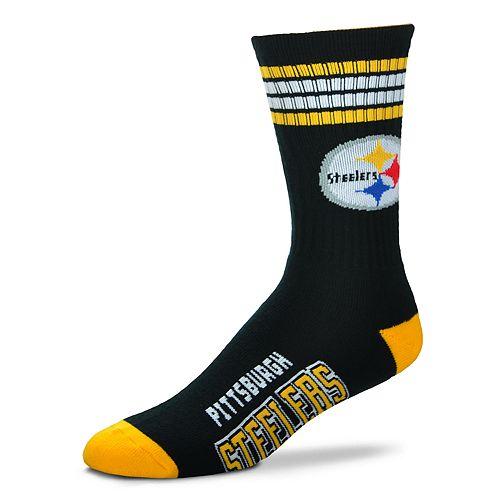 Men's For Bare Feet Pittsburgh Steelers Deuce Striped Crew Socks