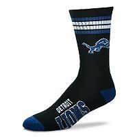 Men's For Bare Feet Detroit Lions Deuce Striped Crew Socks