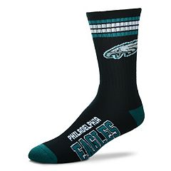 Men's For Bare Feet Philadelphia Eagles Deuce Striped Crew Socks