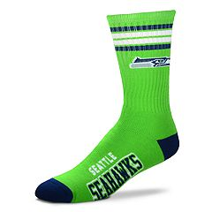 Men's For Bare Feet Seattle Seahawks Deuce Striped Crew Socks