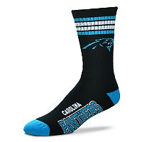 Men's For Bare Feet Carolina Panthers Deuce Striped Crew Socks