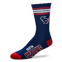 Men's For Bare Feet Houston Texans Deuce Striped Crew Socks