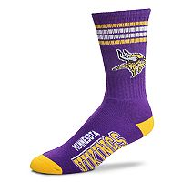 Men's For Bare Feet Minnesota Vikings Deuce Striped Crew Socks