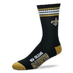 Men's For Bare Feet New Orleans Saints Deuce Striped Crew Socks