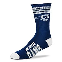 Men's For Bare Feet Los Angeles Rams Deuce Striped Crew Socks