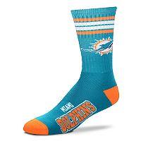 Men's For Bare Feet Miami Dolphins Deuce Striped Crew Socks