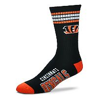 Men's For Bare Feet Cincinnati Bengals Deuce Striped Crew Socks