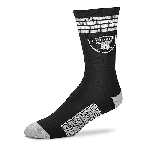 Men's For Bare Feet Oakland Raiders Deuce Striped Crew Socks