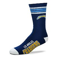 Men's For Bare Feet San Diego Chargers Deuce Striped Crew Socks