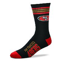 Men's For Bare Feet San Francisco 49ers Deuce Striped Crew Socks