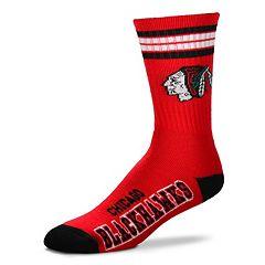 Men's For Bare Feet Chicago Blackhawks Deuce Striped Crew Socks