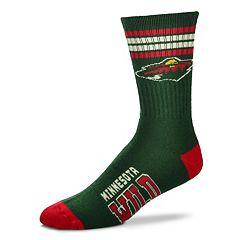 Men's For Bare Feet Minnesota Wild Deuce Striped Crew Socks