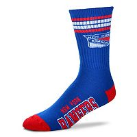 Men's For Bare Feet New York Rangers Deuce Striped Crew Socks