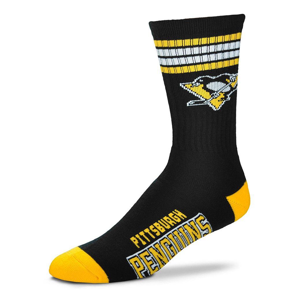 Men's For Bare Feet Pittsburgh Penguins Deuce Striped Crew Socks