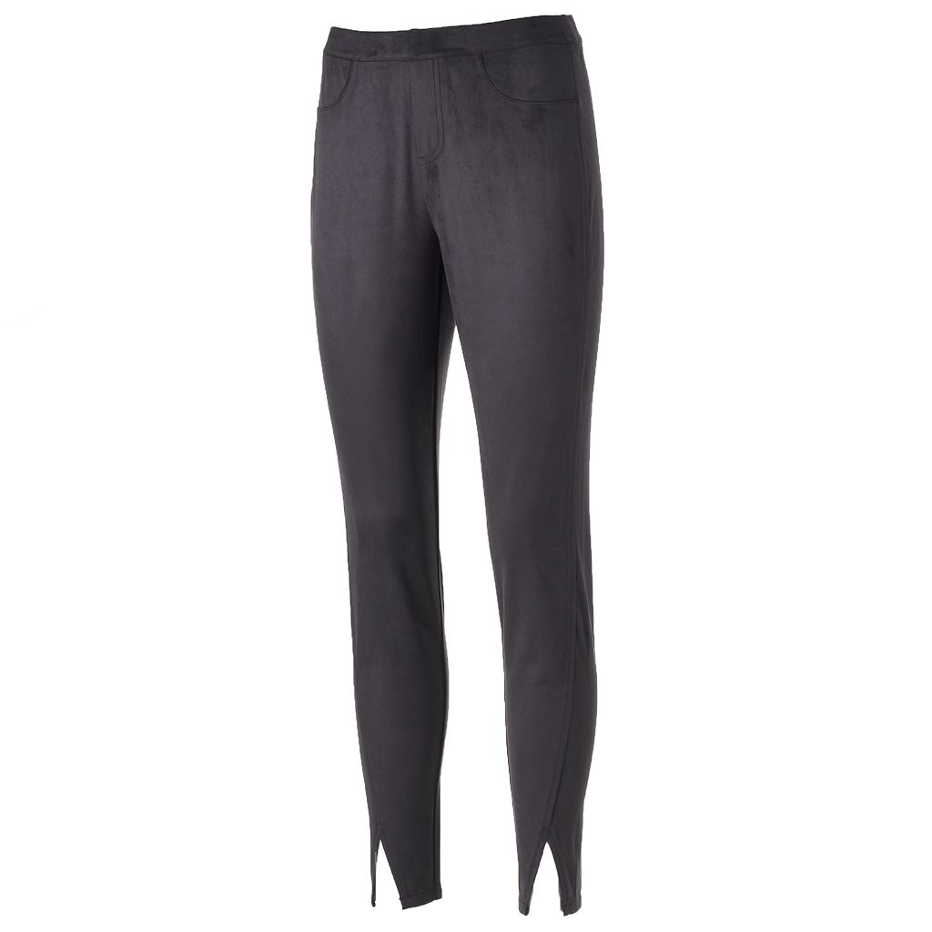 Women's Jennifer Lopez Vented Faux-Suede Leggings