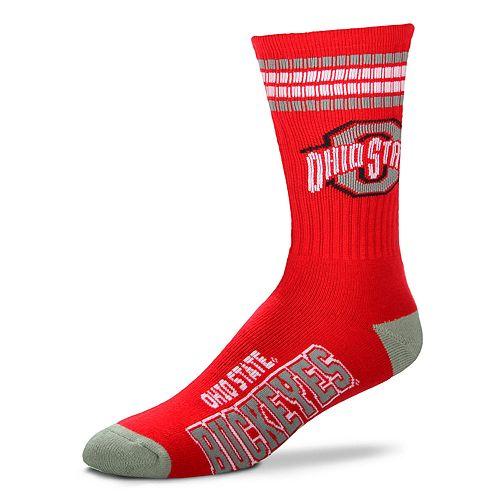 Men's For Bare Feet Ohio State Buckeyes Deuce Striped Crew Socks