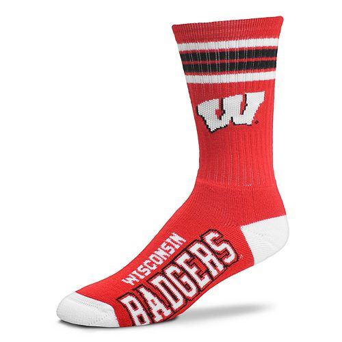 Men's For Bare Feet Wisconsin Badgers Deuce Striped Crew Socks