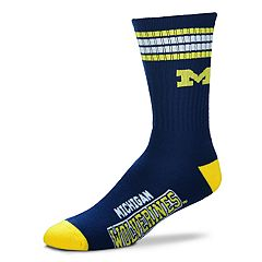 Men's For Bare Feet Michigan Wolverines Deuce Striped Crew Socks