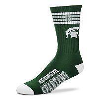 Men's For Bare Feet Michigan State Spartans Deuce Striped Crew Socks