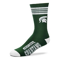 Men's For Bare Feet Michigan State Spartans Deuce Striped Crew Socks