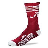Men's For Bare Feet Alabama Crimson Tide Deuce Striped Crew Socks