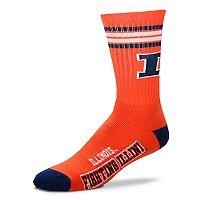 Men's For Bare Feet Illinois Fighting Illini Deuce Striped Crew Socks