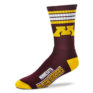 Men's For Bare Feet Minnesota Golden Gophers Deuce Striped Crew Socks