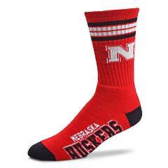 Men's For Bare Feet Nebraska Cornhuskers Deuce Striped Crew Socks