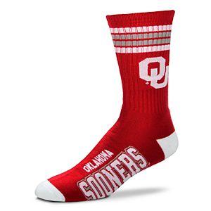 Men's For Bare Feet Oklahoma Sooners Deuce Striped Crew Socks