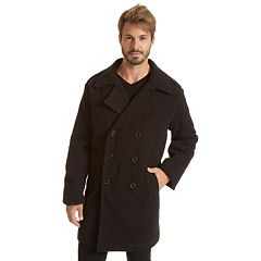 Big & Tall Excelled Double-Breasted Wool-Blend Military Peacoat