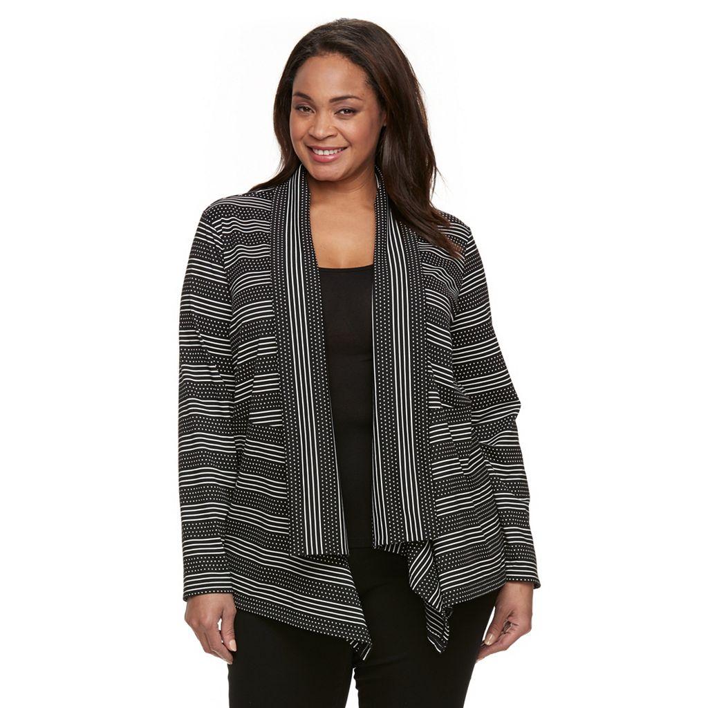 Plus Size Dana Buchman Stripes & Dots Open-Front Cardigan