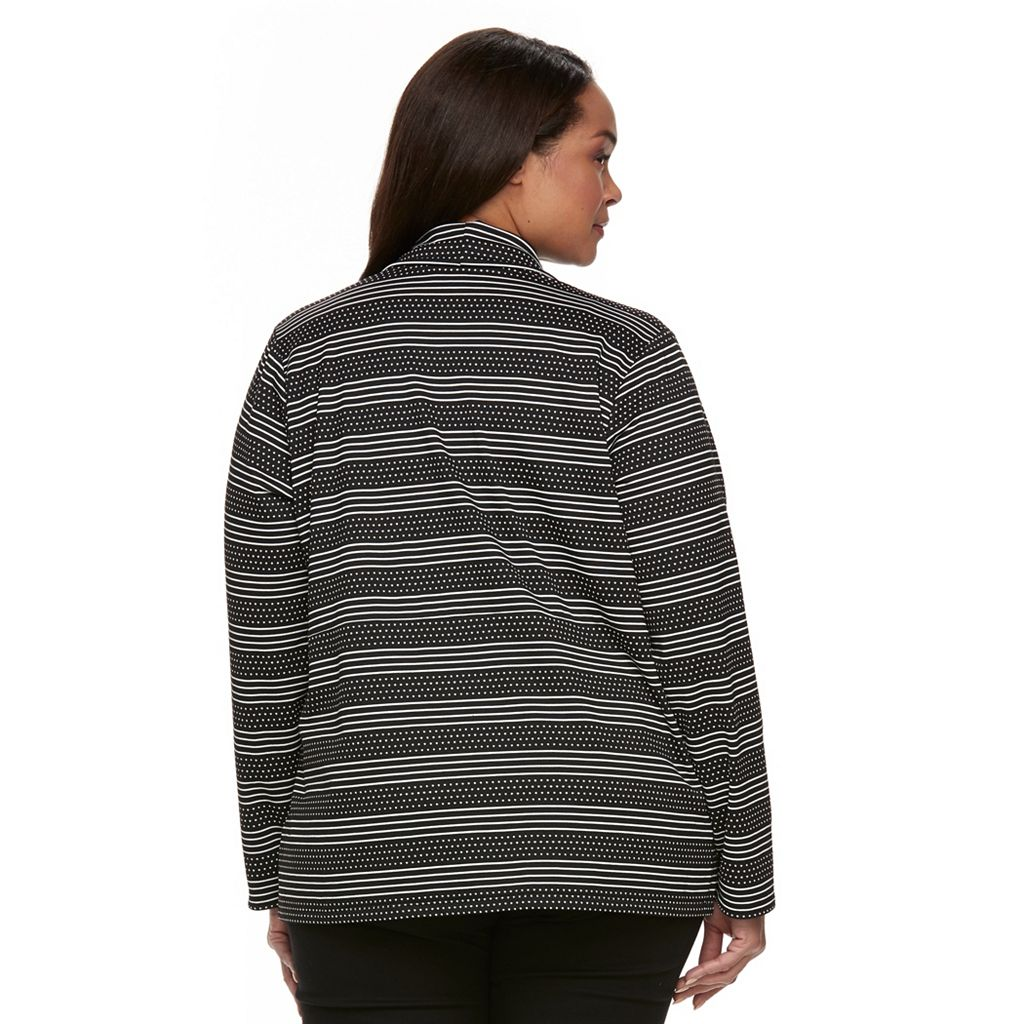 Plus Size Dana Buchman Stripes & Dots Open-Front Cardigan