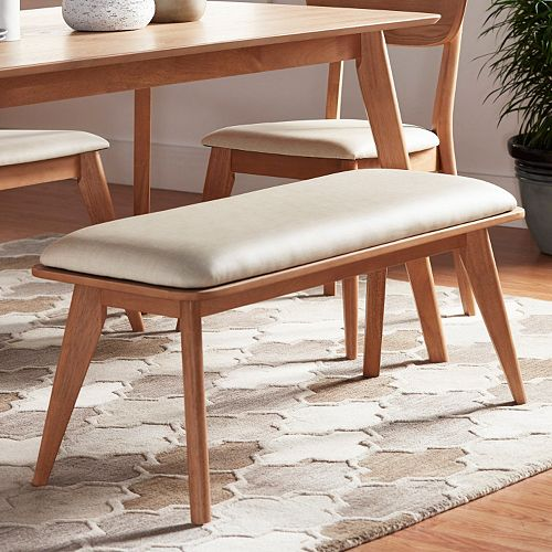 HomeVance Skagen Natural Finish Upholstered Bench