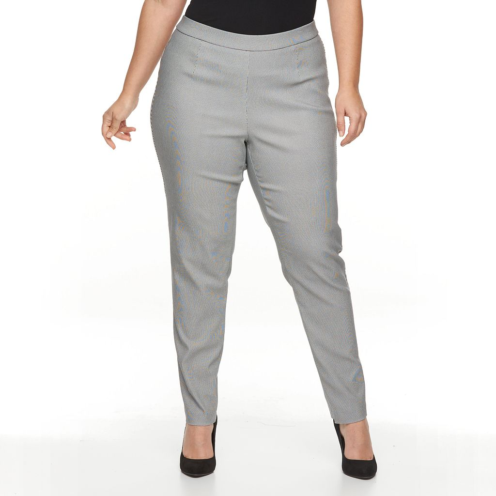 Plus Size Briggs Millennium Printed Tapered Pull-On Dress Pants