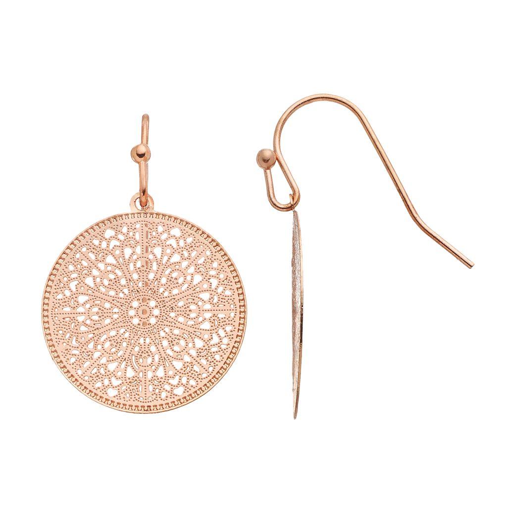 LC Lauren Conrad Filigree Disc Drop Earrings