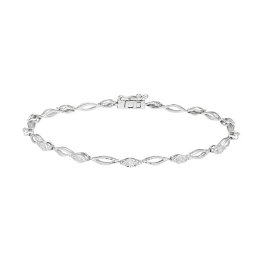 10k White Gold Open Link 1/4 Carat T.W. Diamond Tennis Bracelet