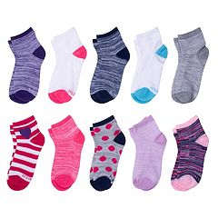 Girls 4-16 Hanes 10-pk. Ankle Socks