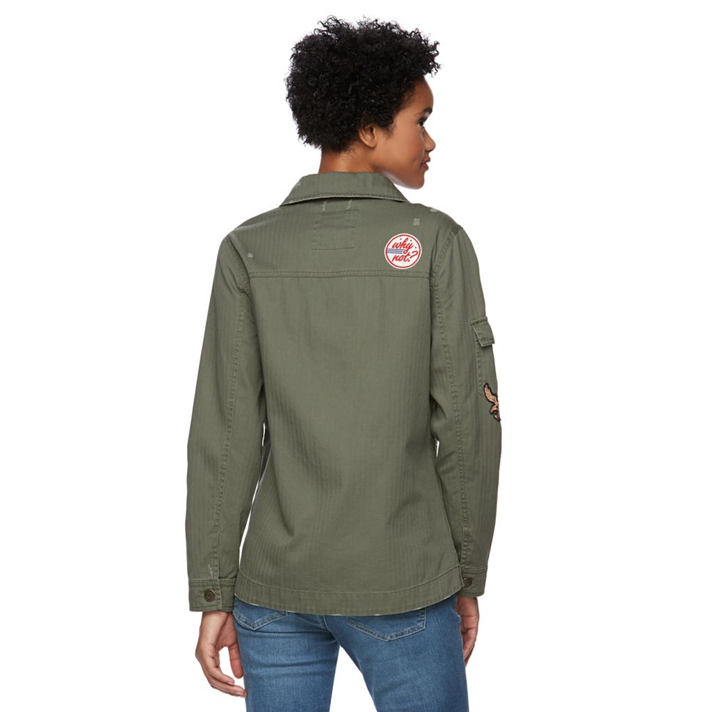 Juniors' Mudd® Patched Shirt Jacket