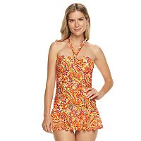 Women's Chaps Body Sculptor & Tummy Slimmer Paisley Swimdress