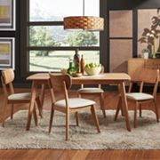 HomeVance Skagen Upholstered Natural Finish Dining Chair 5 pc Set