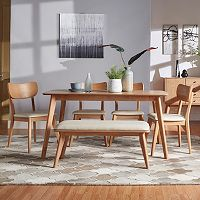 HomeVance Skagen Natural Finish Dining Table, dining Chair & Bench 6 pc Set